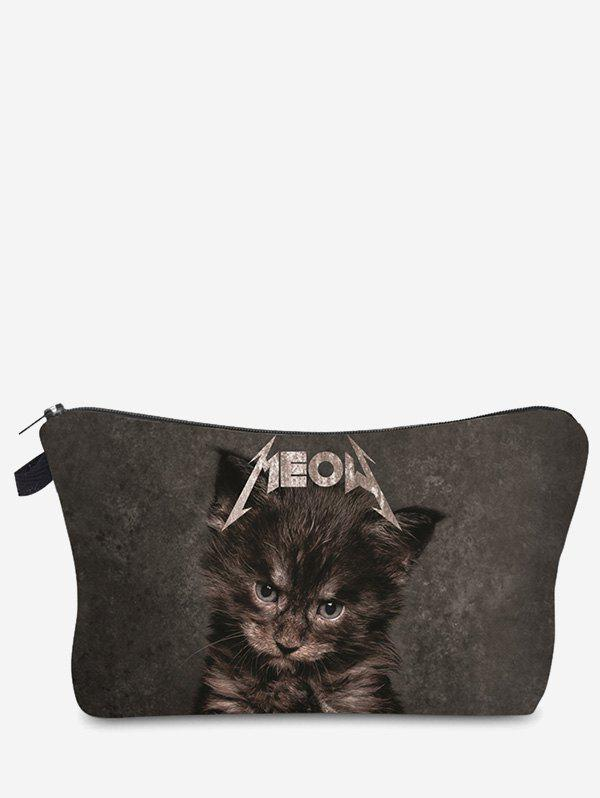 Sac de maquillage d'embrayage 3D Cat Pattern - gris