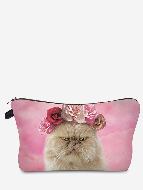 Sac de maquillage d'embrayage 3D Cat Pattern - [