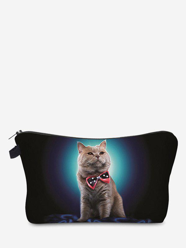 3D Cat Pattern Clutch Makeup Bag - BLACK