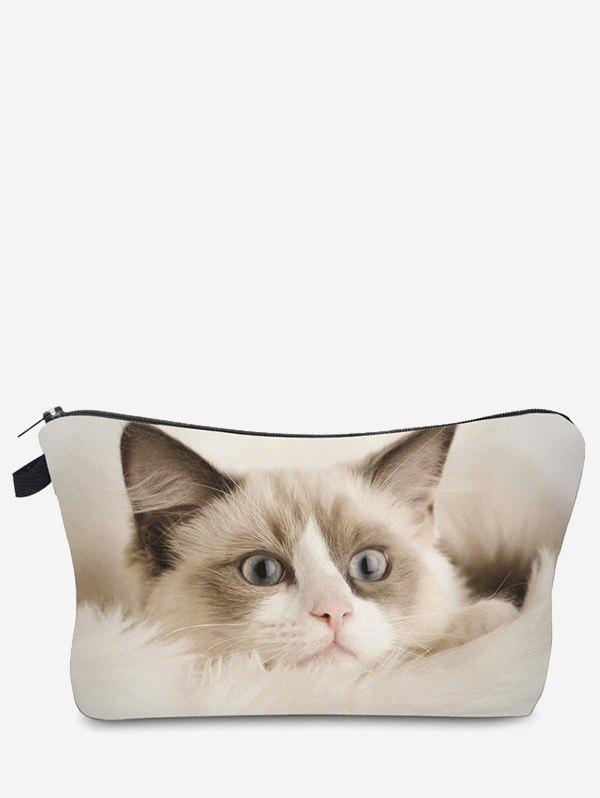 3D Cat Pattern Clutch Makeup Bag - OFF WHITE