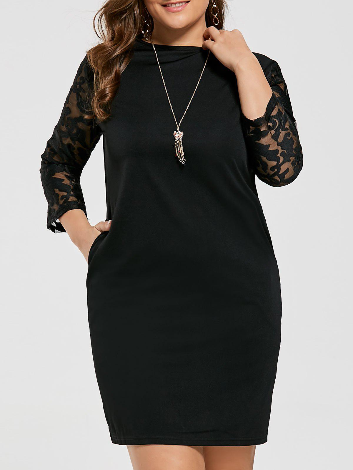 Mesh Sleeve Plus Size Fitted Dress with Pocket plus size tank dress with long mesh sheer cardigan