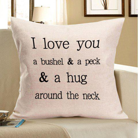 Letters Graphic Pattern Linen Pillow Case - WHITE W18 INCH * L18 INCH