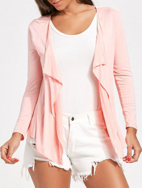 Draped Open Front Cardigan - LIGHT PINK XL