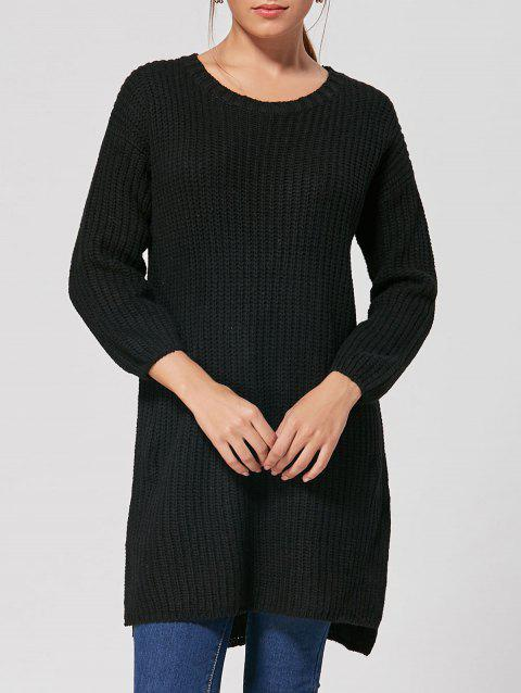 High Low Slit Knit Dress - BLACK ONE SIZE