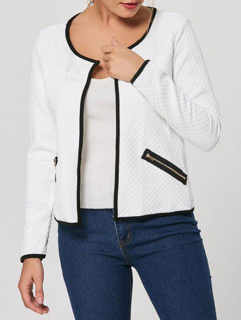 Stylish Women's Scoop Neck Long Sleeve Embossed Jacket - WHITE S