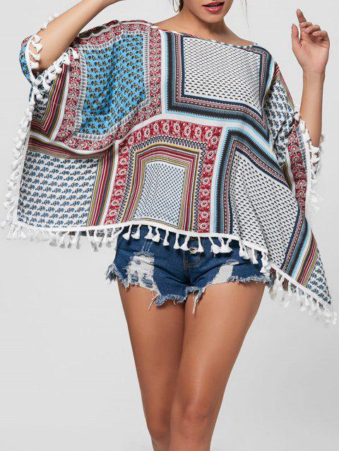 Batwing Sleeve Fringed Blouse - COLORMIX L