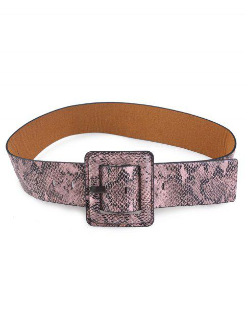 Rectangle Pin Buckle Snakeskin Faux Leather Belt - KHAKI