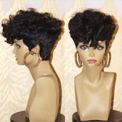 Short Side Bang Layered Shaggy Afro Curly Synthetic Wig - BLACK