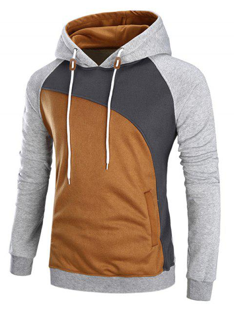 Sweat à Capuche Color Block en Laine Manches Raglan - Gris XL