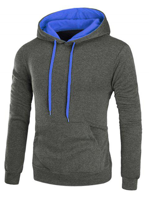 Sweat à Capuche Pull-over à Cordon en Toison - gris foncé XL