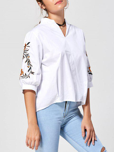 Embroidery Stand Collar Blouse - WHITE ONE SIZE