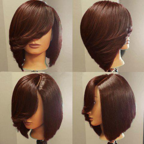 Deep Side Upward Part Straight Short Inverted Bob Synthetic Wig - BROWN