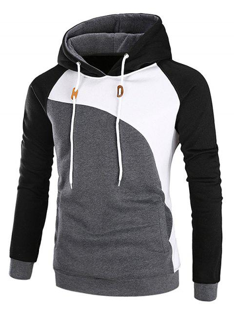 e9961f084464 17% OFF] 2019 Raglan Sleeve Fleece Color Block Hoodie In BLACK ...