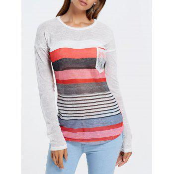Long Sleeve Irregular Sheer Stripe T-shirt