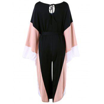 Batwing Sleeve Cut Out Wide Leg Jumpsuit - BLACK BLACK