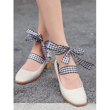 Block Heel Square Toe Lace Up Pumps - Abricot 37