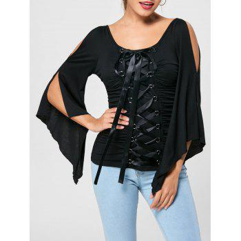 Ruched Lace Up Flare Sleeve Top
