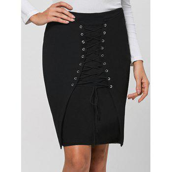 Lace Up Bodycon Skirt - BLACK M