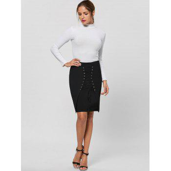 Lace Up Bodycon Skirt - M M