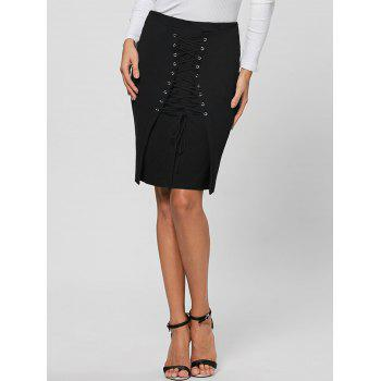 Lace Up Bodycon Skirt - L L