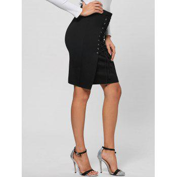 Lace Up Bodycon Skirt - BLACK BLACK