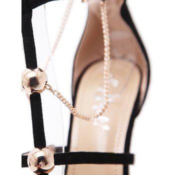 Metal Point Toe Chains T-strap Pumps - BLACK 37