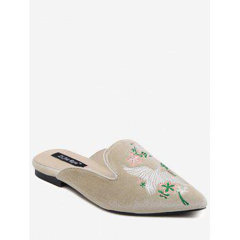 Embroidery Velvet Pointed Toe Slippers - APRICOT 39