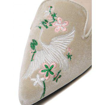Embroidery Velvet Pointed Toe Slippers - APRICOT 40