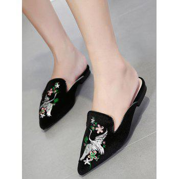 Embroidery Velvet Pointed Toe Slippers - BLACK 37