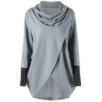 Cowl Neck Polka Dot High Low Tunic Sweatshirt - GRAY GRAY