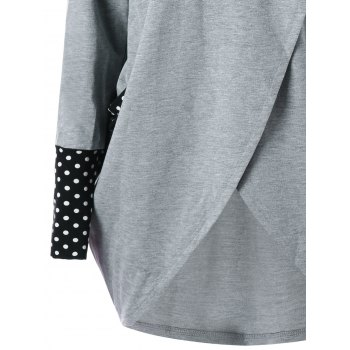 Cowl Neck Polka Dot High Low Tunic Sweatshirt - 2XL 2XL