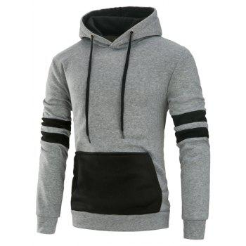 Color Block Panel Fleece Varsity Stripe Hoodie - GRAY GRAY