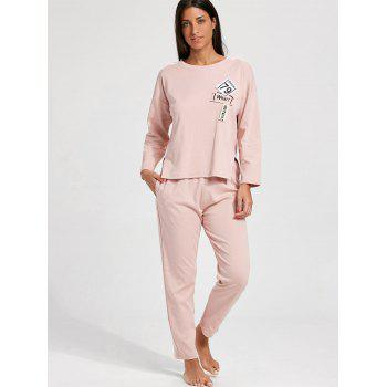 Drop Shoulder Slit Cotton Pajamas Set - LIGHT PINK LIGHT PINK