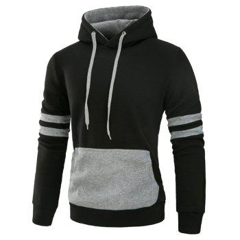Color Block Panel Fleece Varsity Stripe Hoodie