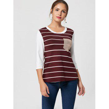 Sequin Pocket Striped Tee - 2XL 2XL