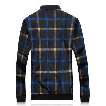 Zip Up Color Block Plaid Jacket - BLACK BLACK