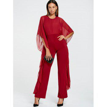 Mesh Insert High Waist Jumpsuit - RED M