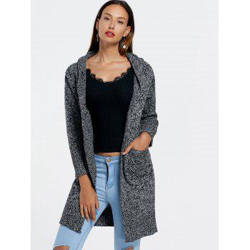 Heathered Hooded Longline Cardigan - GRAY GRAY