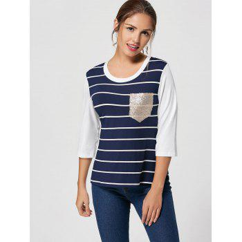 Sequin Pocket Striped Tee - BLUE BLUE