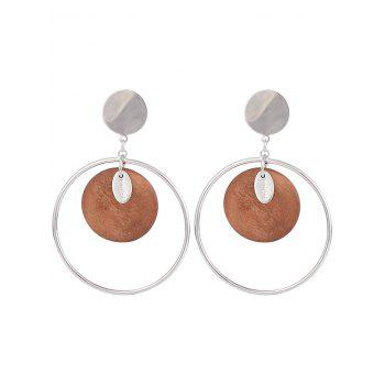 Round Piece Metallic Circle Drop Earrings - SPICE SPICE