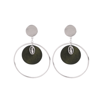 Round Piece Metallic Circle Drop Earrings -  ARMY GREEN