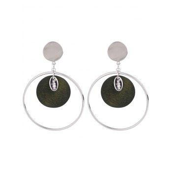 Round Piece Metallic Circle Drop Earrings - ARMY GREEN ARMY GREEN