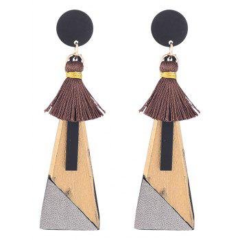 Triangle Pendant Tassels Embellished Drop Earrings - GOLDEN GOLDEN
