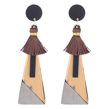 Triangle Pendant Tassels Embellished Drop Earrings -  GOLDEN