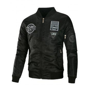 Embroidered Padded Appliques Bomber Jacket