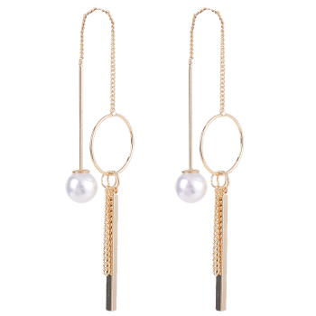 Metallic Stick Circle Faux Pearl Drop Earrings -  GOLDEN