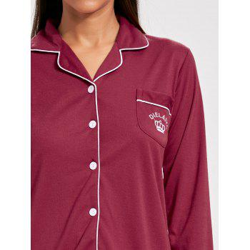 Lapel Button Up Long Sleeve PJ Set - WINE RED WINE RED
