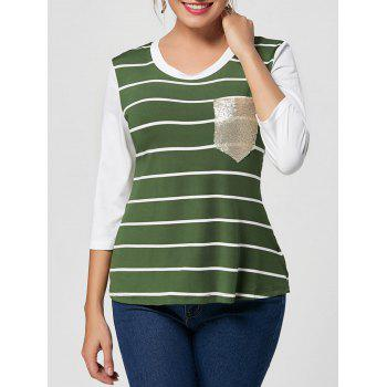 Sequin Pocket Striped Tee - GREEN 2XL