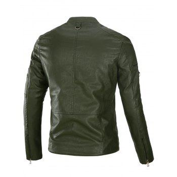 Fleece Multi Zippers PU Leather Jacket - ARMY GREEN ARMY GREEN