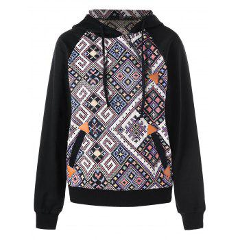 Inclined Zip Graphic Hoodie - BLACK BLACK